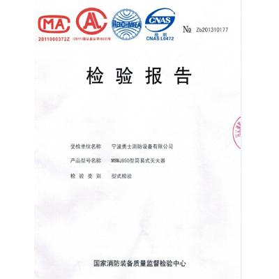 """""""大勇士""""MSWJ950型水基灭火器 检测报告"""