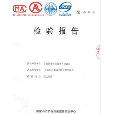 """""""大勇士""""TZL30过滤式消防自救呼吸器 检测报告"""